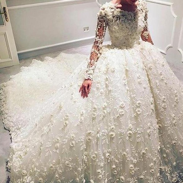 3d flowers wedding ball gowns ivory wedding dress lace for Beautiful ivory wedding dresses