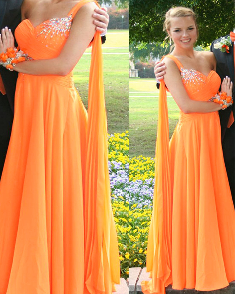 orange prom dresses one shoulder prom dresses sparkly
