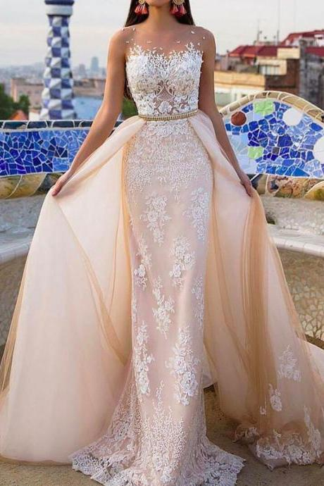 champagne wedding dresses, wedding dress with detachable train, lace bridal dresses, mermaid wedding gowns, vintage wedding dress, new arrival bridal dress, champgane bridal dress, sheer wedding dresses, 2018 wedding dress, elegant wedding dress, cheap wedding dress