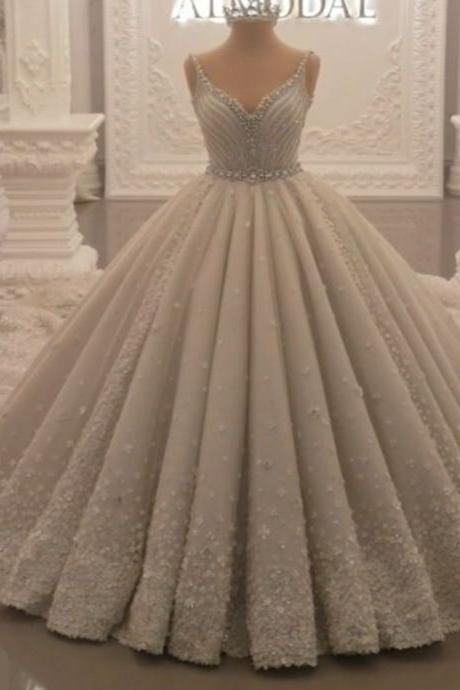 ball gown wedding dresses 2019 crystal hand made flowers puffy bridal dresses court train bridal dresses gowns