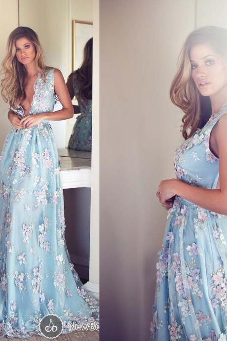Deep V Neck Prom Dresses, Hand Made Flowers Prom Gowns, Lace Evening Dresses, Light Sky Blue Evening Gowns, Tulle Evening Dress, New Arrival Party Dresses, A Line Evening Gowns
