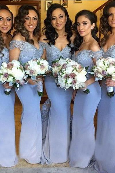 Cap Sleeve Mermaid Lace Beaded Long Blue Bridesmaid Dresses Sexy Wedding Party Dresses 2016