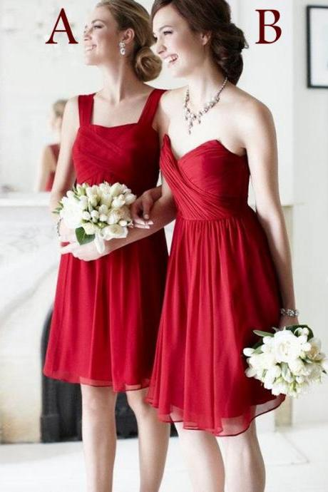 Mismatched Chiffon Wine Red Colored Short Cheap Junior Bridesmaid Dresses Burgundy Bridesmaid Dress