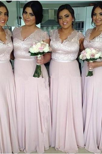 Cap Sleeve Lace Chiffon Pink Long Elegant V Neck Bridesmaid Dresses 2016 Wedding Guest Dresses For Bridesmaids