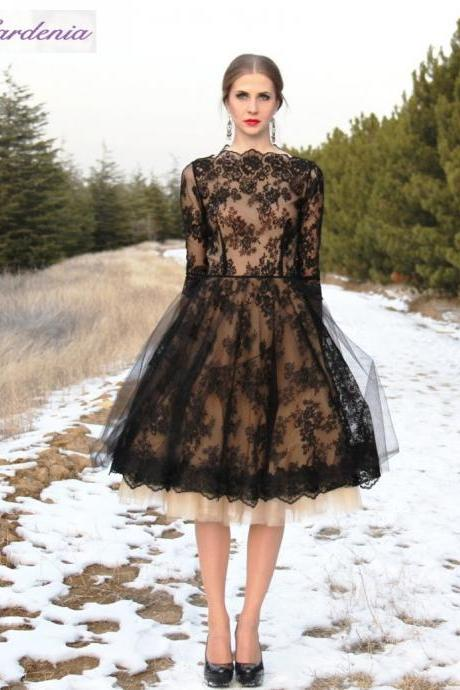 Black Lace Long Sleeve Elegant Short Prom Dresses 2016 Cheap Tulle A Line Prom Gowns 2016
