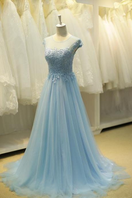 Blue Prom Dresses, Lace Prom Dresses, Tulle Prom Dress, Elegant Prom Dress, A Line Prom Dress, Cap Sleeve Prom Dress, Prom Dresses 2017, Long Prom Dress