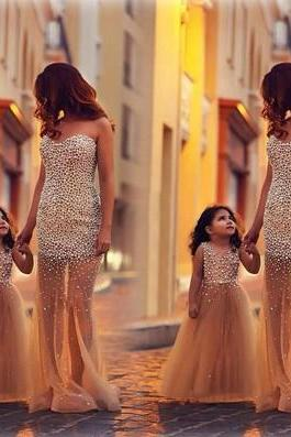 Mother Daughter Matching Dresses, Long Evening Dresses, Peals Evening Dress, Sexy Evening Dresses, Luxury Evening Dresses, Champagne Evening Dress, Formal Dresses 2017(price including two dresses)