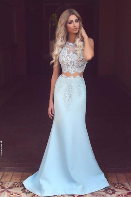 2017 Two Pieces Prom Dresses, Lace Party Dresses, Blue Prom Dress, Satin Evening Dresses, 2017 Special Occasion Dresses, Mermaid Evening Gowns, New Arrival Evening Dress, 2017 Women Party Dresses, Fashion Formal Party Dresses, Arabic Prom Dress, Women evening dresses