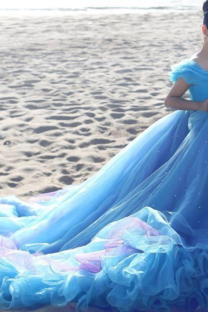 Cinderella Prom Dresses, Ball Gown Evening Dresses, Blue Evening Gowns, New Arrival Party Dresses, Off the Shoulder Prom Dresses, Tulle Evening Dresses, Custom Make Formal Dresses, Crystal Prom Dresses