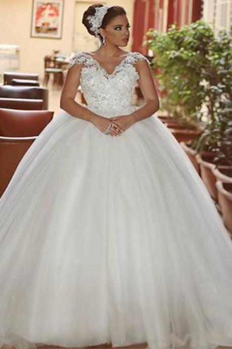 Ball Gown Wedding Dresses, Lace Bridal Dresses, Cap Sleeve Wedding Dress, Ball Gown Bridal Dress, Tulle Wedding Gowns, Sexy Bridal Dresses, 2017 Wedding Dresses, Arabic Bridal Dresses, Said Mhamad Wedding Gown