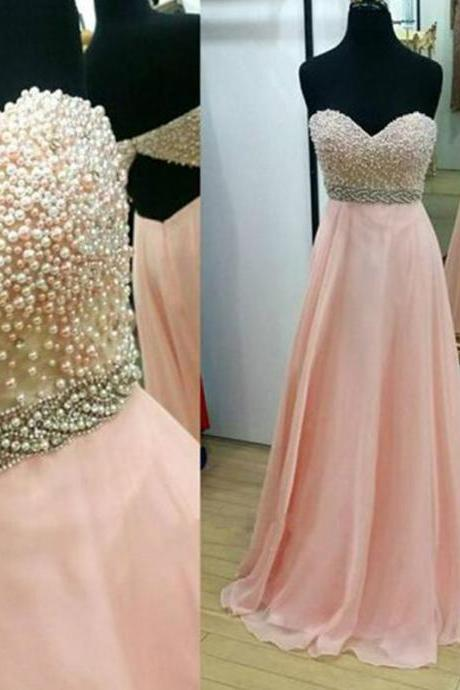 Pearls Prom Dresses, Sweetheart Prom Dresses, Chiffon Prom Dresses, Backless Prom Dress, Pink Prom Gowns, 2017 Prom Gown, Fashion Evening Dresses, A Line Evening Dress, Pearls Evening Gowns