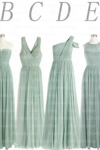 Sage Green Bridesmaid Dresses, Mismatched Bridesmaid Dresses, Long Bridesmaid Dresses, Chiffon Bridesmaid Dresses, Wedding Guest Dresses, A Line Bridesmaid Dresses, Bridesmaid Dresses 2017
