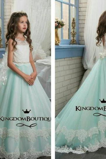 Glitz Pageant Girl Dresses, Mint Green Flower Girl Dress, Girls Dresses Kids, Lace Flower Girl Dress, Pageant Little Girl Dresses, Beaded Flower Girl Dresses
