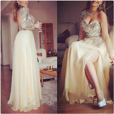Long Sleeve Champagne Sparkly Prom Dress, Sequins Chiffon Long Prom Dress, High Side Slit Sexy Backless Prom Dress, Prom Gowns 2016, Cheap Prom Dresses