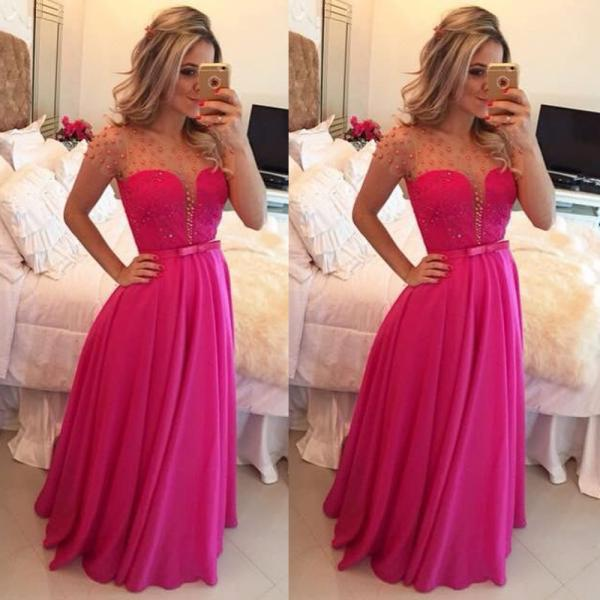 Hot Pink Peals Long Prom Dress, Chiffon A Line Prom Dress, Cheap Elegant Cap Sleeve Prom Dress, Bow Custom Ever Pretty Prom Dress, 2016 Prom Gowns For Women