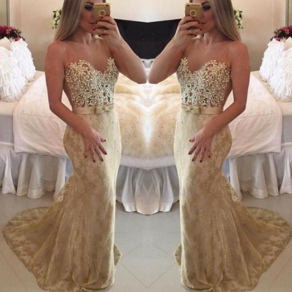 Gold Lace Peals Evening Dress, Mermaid Off Shoulder Evening Dress, Elegant Gorgeous Long Evening Dress, Cheap Simple Sheer Back Evening Dress, Evening Gowns, Formal Party Dresses